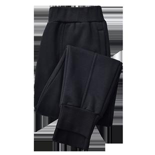 加絨運動褲女秋冬季束腳哈倫褲寬鬆外穿羊羔絨加厚蘿蔔休閒衞褲子
