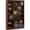 源氏木语实木书柜现代带玻璃门展示柜北欧简约橡木落地置物柜书架