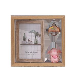 創意北歐相框擺台洗照片ins雙面相架定製67寸鐵藝裝飾擺件豬小屁