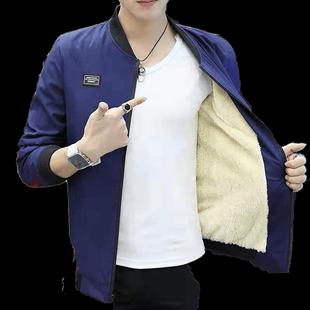 加绒加厚男韩版修身男休闲短款夹克