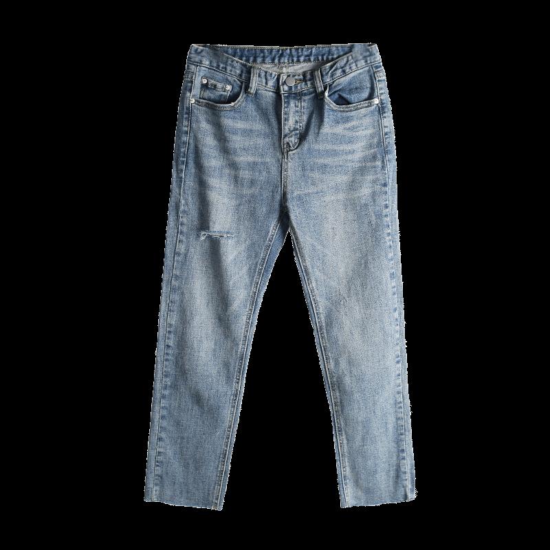 牛仔裤女七分新款破洞八分裤小脚裤