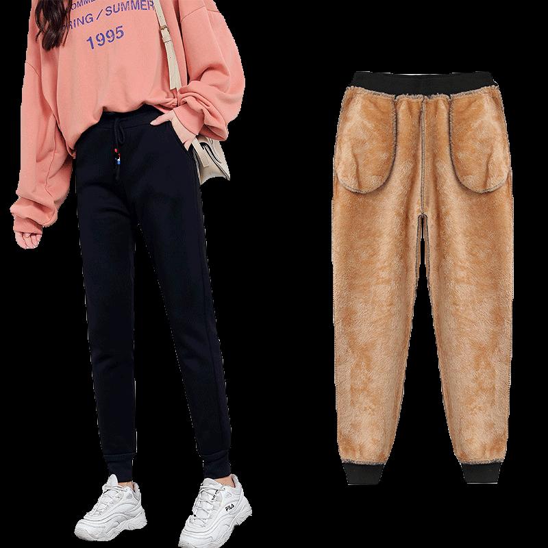 秋冬季加绒加厚羊羔绒运动女裤子大码外穿宽松女装卫裤休闲裤长裤