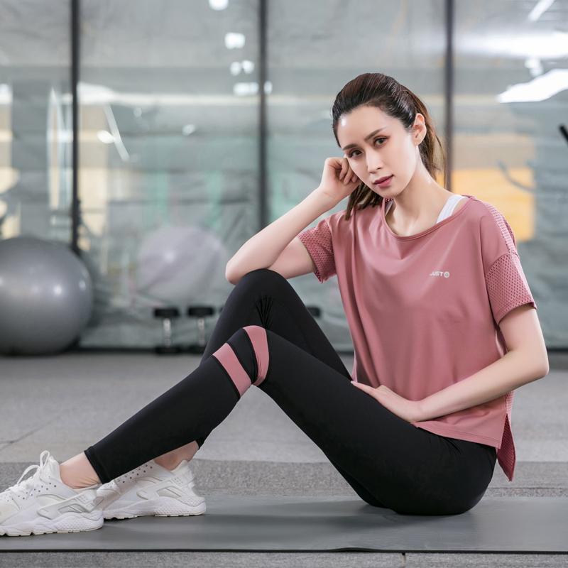 满100元可用10元优惠券瑜伽服运动套装女2019薄款夏天短袖跑步速干健身服网红仙气加大码