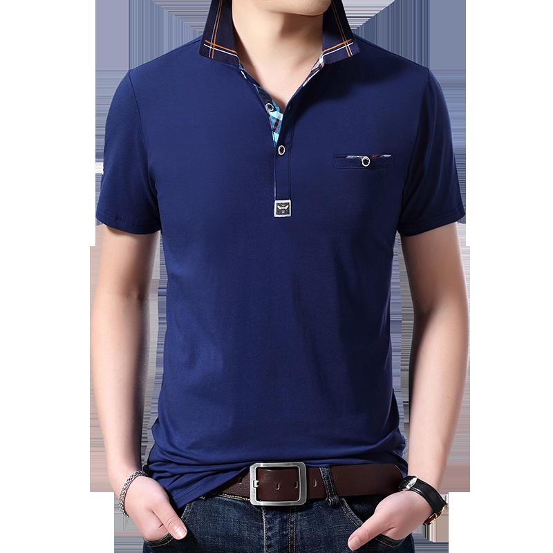 乔诺恩青年男士夏季新款短袖T恤polo衫纯色简约假口袋休闲棉t上