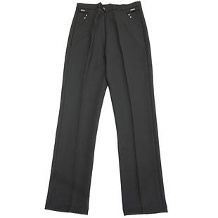 秋冬厚款中老年女裤高腰直筒宽松大码妈妈裤垂感气质纯色黑色长裤