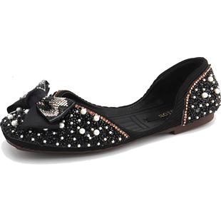 磨砂水鑽涼鞋2020年新款女夏季平底包頭珍珠仙女風ins潮羅馬鞋子