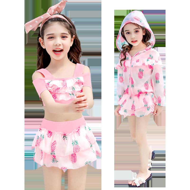 儿童泳衣女童中大童分体公主裙式宝宝可爱泳装女孩小童韩国游泳衣
