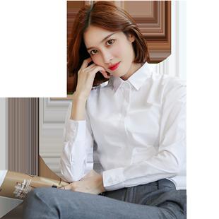 洛禾職業加絨白襯衫女長袖2020年秋冬新款上衣氣質百搭正裝黑襯衣