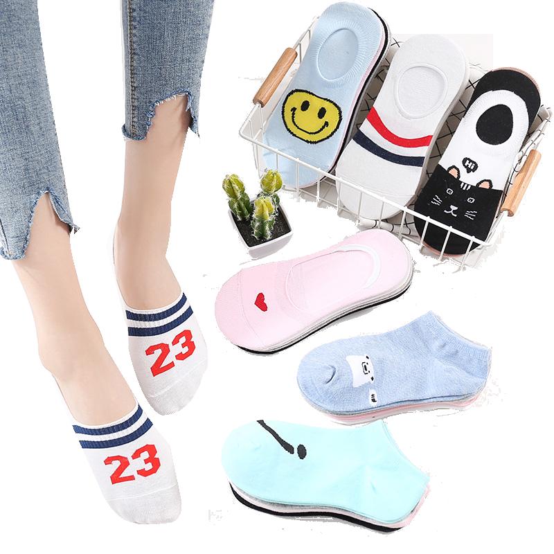 袜子女船袜短袜夏季薄款隐形袜韩国卡通可爱低帮浅口棉袜硅胶防滑