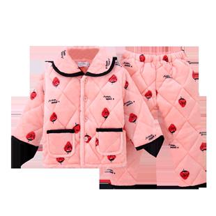 女童秋冬季珊瑚绒三层加绒睡衣