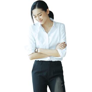 白襯衫女長袖2020夏新款韓版修身職業裝OL短袖襯衣工作服V領工服