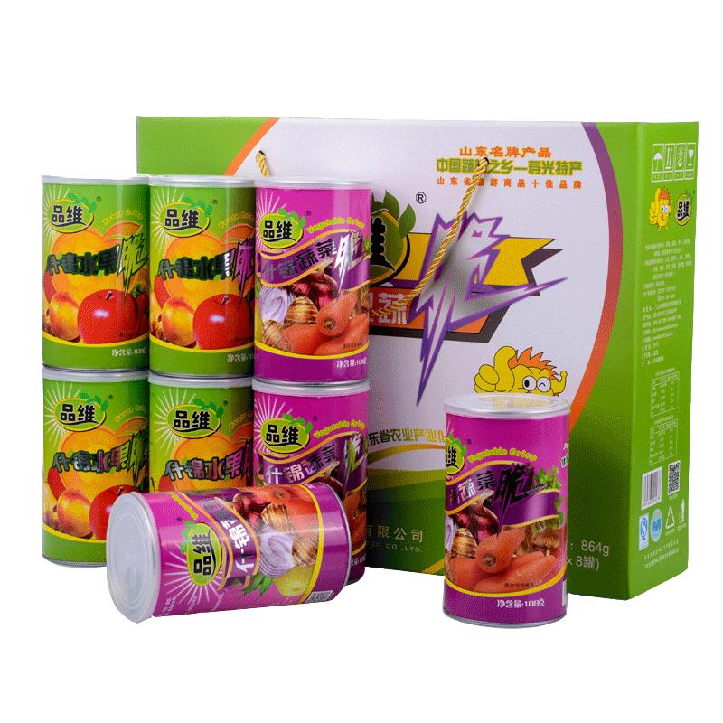 品维 什锦果蔬脆礼盒 综合蔬果干蔬菜干即食果蔬干108gx8罐装