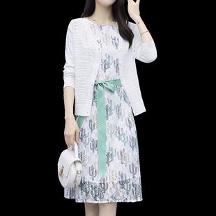春秋女裝2020年新款名媛高端蕾絲連衣裙子兩件套裝針織氣質初秋款