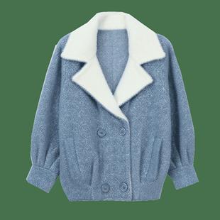 水貂絨外套女春秋裝2020新款韓版寬鬆秋冬網紅毛衣針織開衫外塔潮