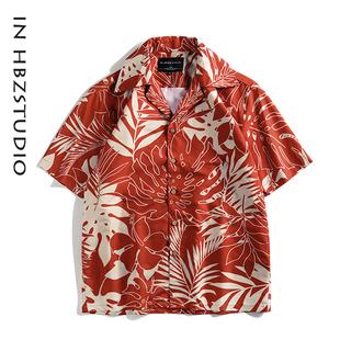 美式休閒植物花卉夏威夷襯衫短袖男女復古原宿港風大碼潮古着外套