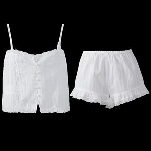 PJM性感純棉吊帶短褲睡衣兩件套女夏全棉提花鏤空可愛短款家居服