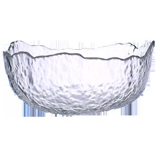 川島屋日式金邊透明玻璃碗家用大號水果沙拉碗北歐創意水果沙拉盤