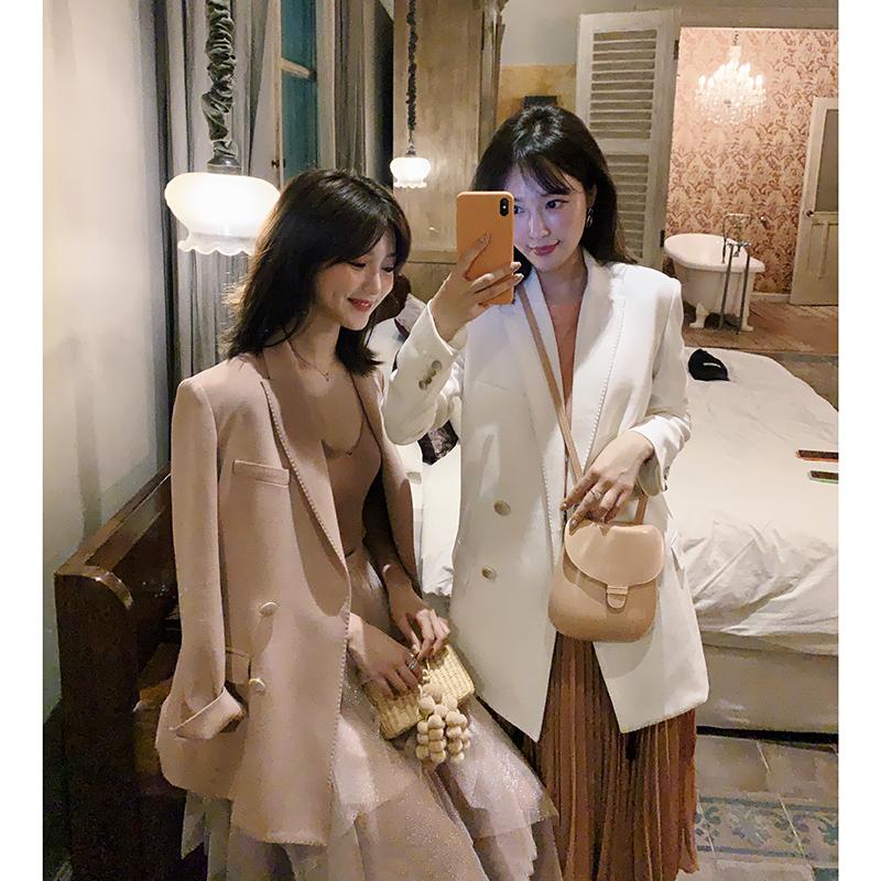 于momo春夏2019款女大哥廓西网红小西装时尚百搭纯色西装套装韩版
