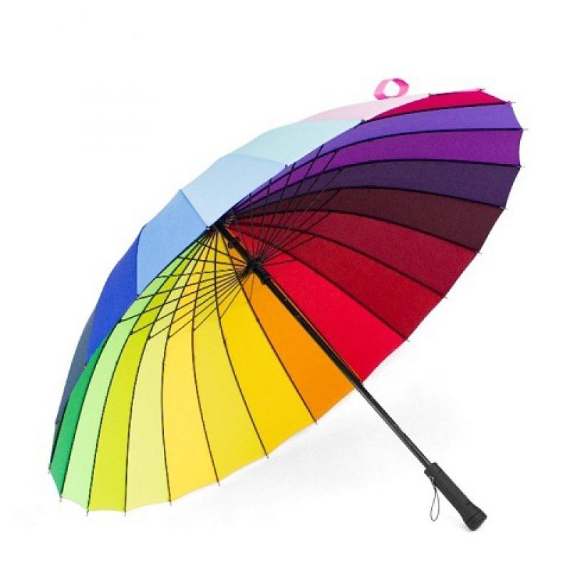 24骨个性彩虹雨伞男超大双人三人手动长柄伞户外伞加固放风大伞