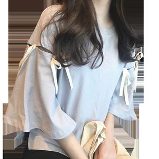 夏裝2020新款喇叭袖短袖上衣女寬鬆韓版網紅學生T恤女百搭港風ins