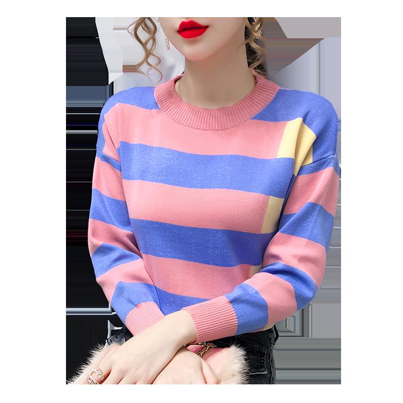 韩版百搭针织衫女2020秋冬新款外穿内搭条纹加厚加绒毛衣打底上衣