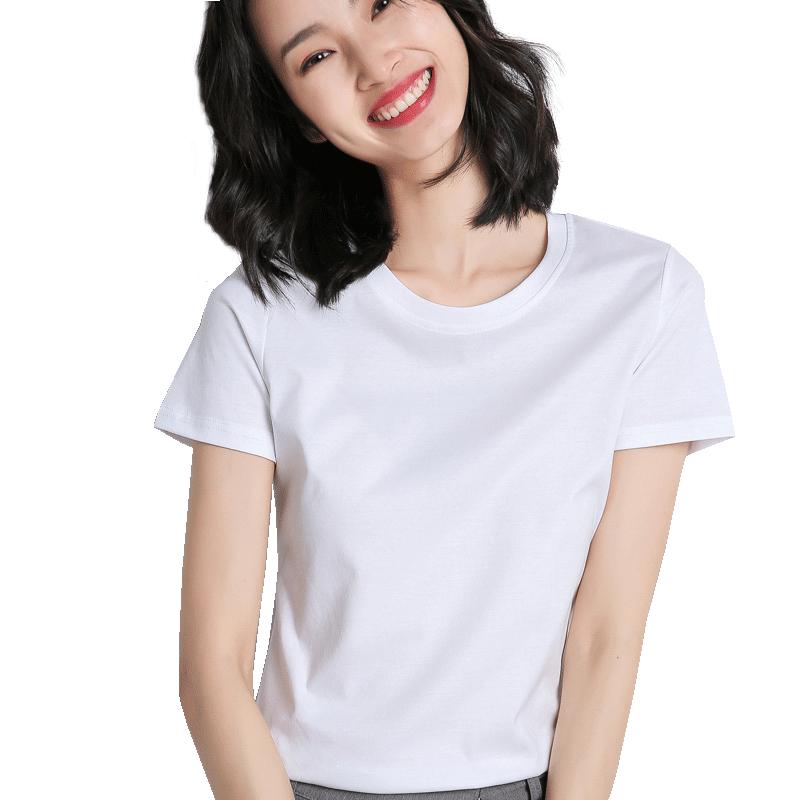 牧都兰纯棉春夏装女上衣ins潮圆领短袖修身打底T恤纯色修身白色