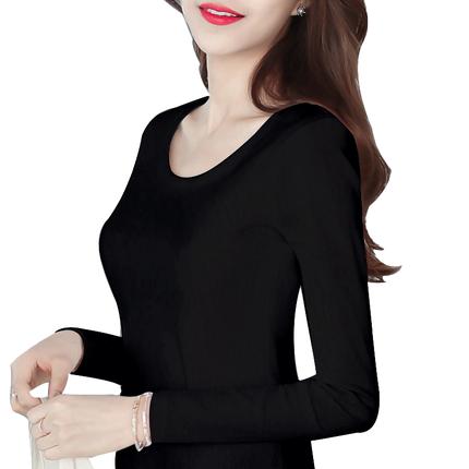 纯黑色长袖秋冬t恤2019新款打底衫