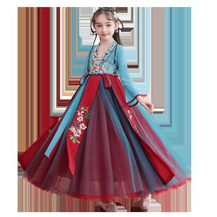 漢服女童古裝秋冬小女孩古風連衣裙中國風童裝兒童唐裝襦裙超仙女