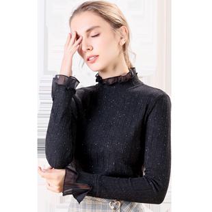 2019秋装新款亮片针织长袖洋气打底衫女显瘦上衣百搭小衫黑色气质