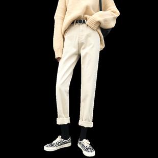 米白色直筒牛仔褲女秋冬2020年新款高腰顯瘦闊腿寬鬆加絨老爹褲子