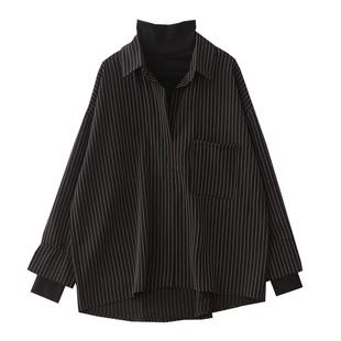 港味复古高领竖条纹假两件2019衬衫
