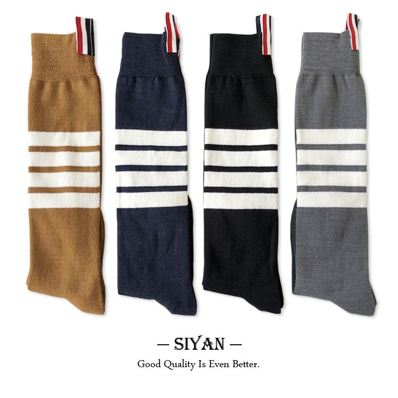 羊毛四条杠长筒袜女秋冬加厚保暖小腿及膝袜灰色TB中筒羊绒过膝袜
