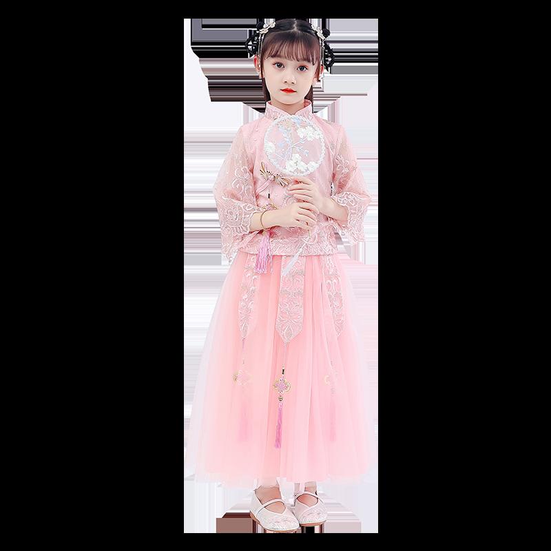 儿童汉服女童旗袍中国风古装超仙小女孩洋气樱花公主裙礼服唐装秋