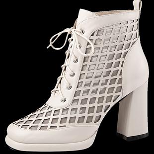 防水台網紗鏤空靴子女2020春夏季新款高跟鞋高幫涼鞋繫帶粗跟網靴