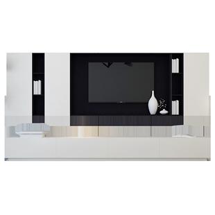 電視櫃茶几組合現代簡約輕奢客廳背景牆北歐小户型白烤漆傢俱套裝