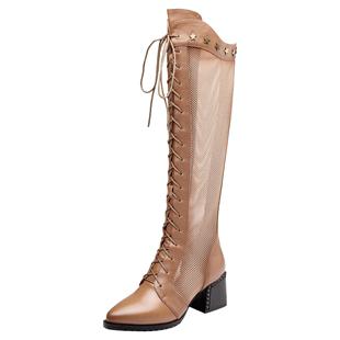 思卡琪尖頭高跟鞋女透氣網紗馬丁靴繫帶高筒靴子鏤空涼靴單靴網靴
