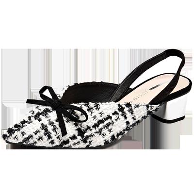 卓诗尼单鞋女中跟粗跟2019春季新款韩版时尚尖头女鞋子123910131