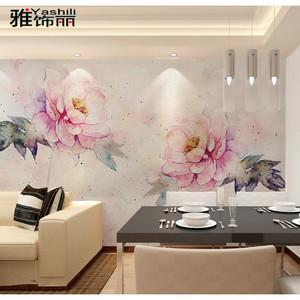 大花墙纸卧室婚房美式乡村客厅壁纸