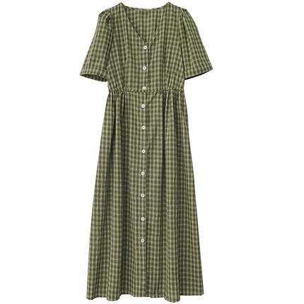 夏装清新格子短袖v领女2019连衣裙