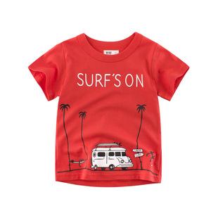 男童短袖t恤纯棉a类红色打底衫