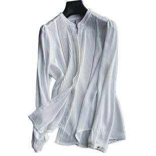 5e雪紡白襯衫女長袖設計感小眾襯衣秋冬修身基礎款百搭上衣氣質