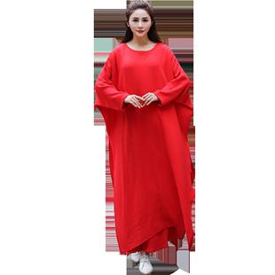 秋裝中國風女裝復古禪舞服裝女仙女漢服瑜伽服禪服仙氣棉麻連衣裙