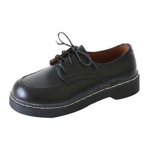 黑色小皮鞋女英倫夏季薄款jk鞋日系復古配裙子夏百搭皮鞋學生平底