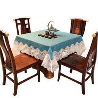 桌布正方形防水防油免洗家用四方餐桌布中式高级感八仙桌麻将台布