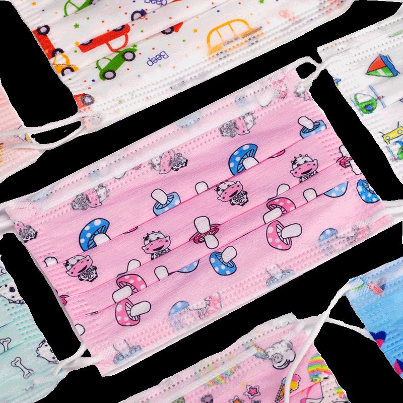 婴果乐儿童口罩女男童学生一次性透气夏天季可爱图案卡通印花口罩