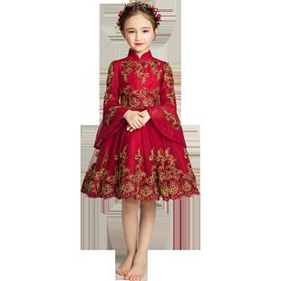 女童晚禮服公主裙兒童小主持人模特走秀鋼琴演出服花童蓬蓬紗高端