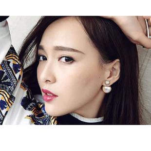 奧米迪奧珍珠耳釘純銀女大小雙面耳環韓國個性氣質前後2020新款潮