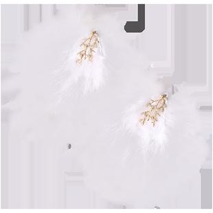 羽毛頭飾髮卡森系仙女超仙古風漢服毛毛髮夾邊夾少女日系可愛髮飾