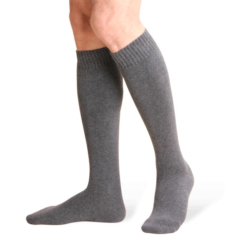 恒源祥男士黑色长筒袜冬季加厚纯棉