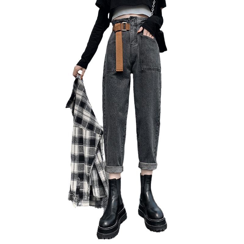 2020年秋冬季新款烟灰色老爹牛仔裤女高腰显瘦直筒宽松萝卜哈伦裤